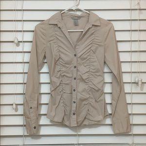 H&M Blush Ruffled Button Down Shirt Size 4